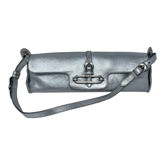 Cosmo Metallic Handbag leather baguette-0