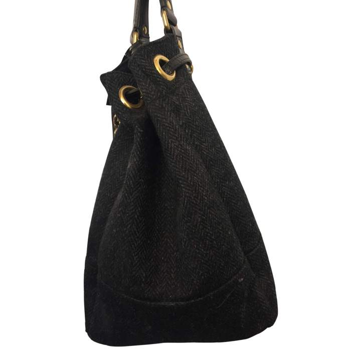 Wool and patent leather Bag -6