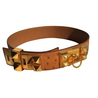 Medor Belt in brown ostrich-0