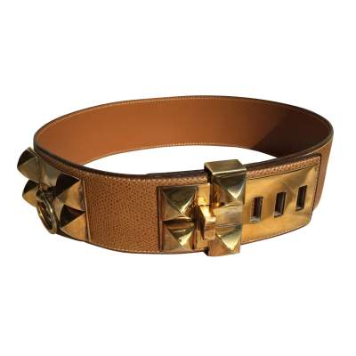 Medor Belt in gold leather-0