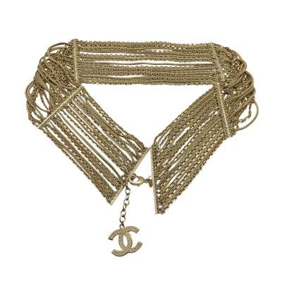 Multi chain belt in pale gold Metal-0