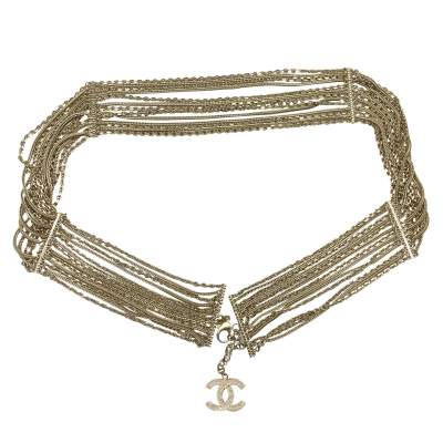 Multi-row matte gold chain Belt-0