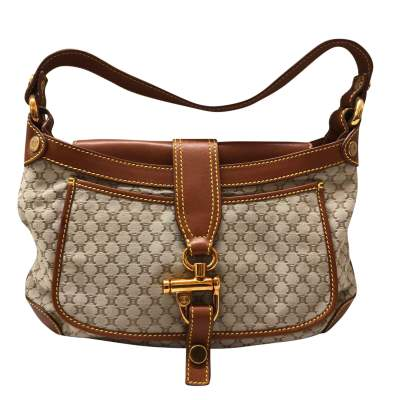 Gold leather monogram canvas Bag -1