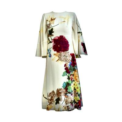 Cape back Floral- print silk Dress-0