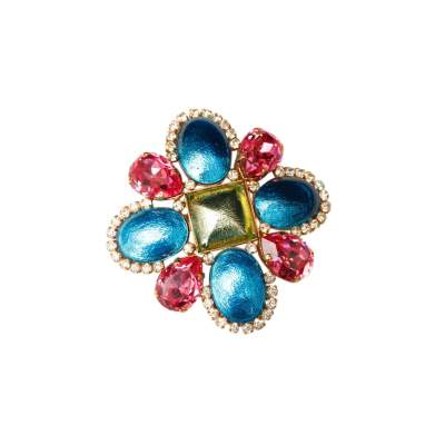 Blue, pink and green cross brooch, 1995 Spring Collection-0